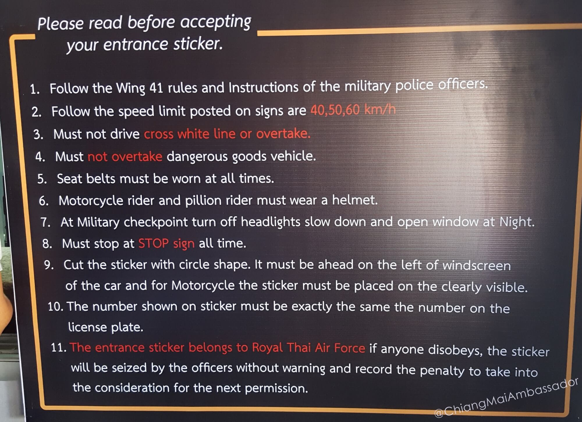 Chiang Mai Ambassador Wing 41 Pass Rules