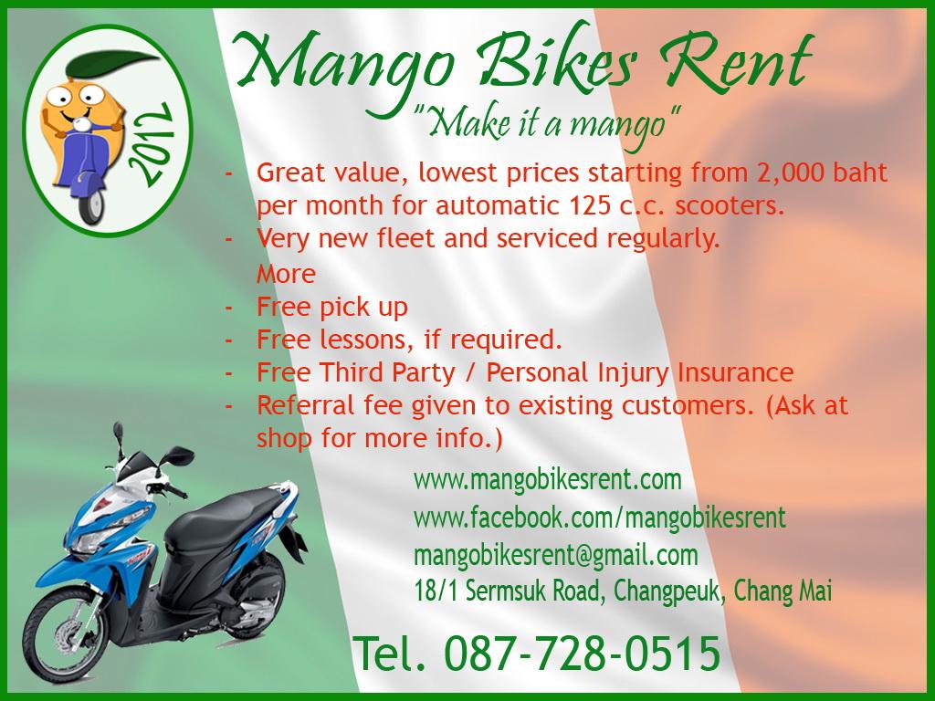 Chiang Mai Ambassador mango rent motorbikes